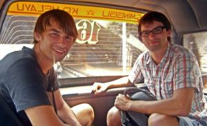 Georg and Jakob in angkot to Kp. Melayu