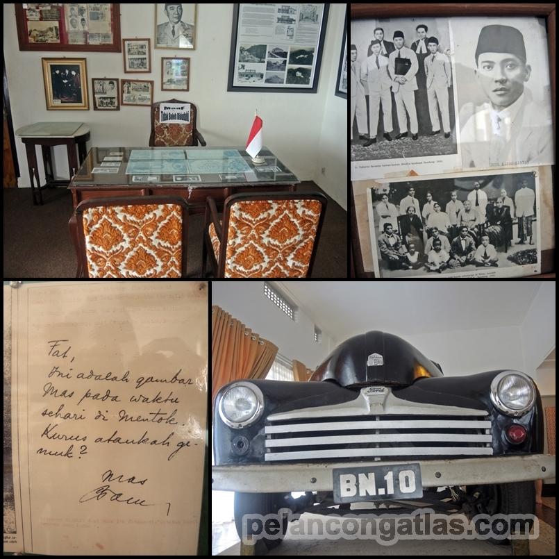 Kiri atas : Meja kerja mantan Presiden Soekarno. Kanan atas : Foto-foto mantan Presiden Soekarno. Kiri bawah : Surat dari mantan Presiden Soekarno ke Ibu Fatimah Soekarno. Kanan bawah : Mobil operasional mantan Presiden Soekarno selama di Bangka.